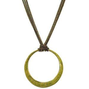 Antique Bronze Circle Pendant Triple brass chain